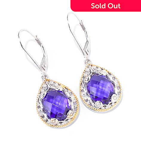 119-940 - Gems en Vogue 4.70ctw Quartz Doublet Teardrop Earrings