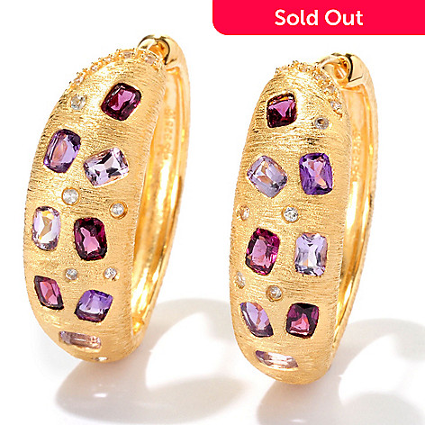 119-958 - Michelle Albala Multi Gemstone 1'' Hinged Hoop Earrings