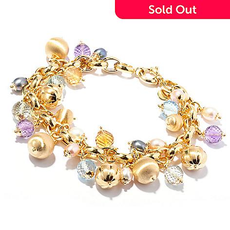 119-959 - Viale18K® Italian Gold 8'' Multi Gemstone Charm Bracelet