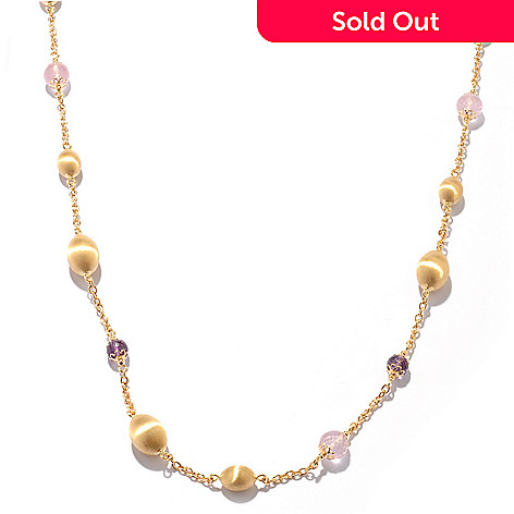 119-961 - Viale18K® Italian Gold 36'' Amethyst & Rose Quartz Station Necklace