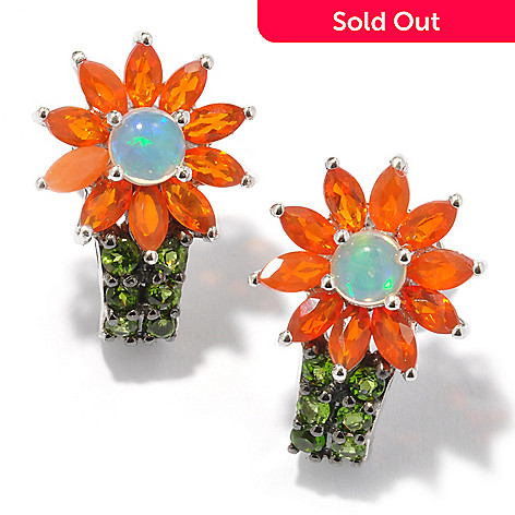 119-978 - NYC II 1.12ctw Multi Opal & Chrome Diopside Flower Earrings
