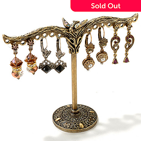 119-981 - Sweet Romance Gold-tone Earring Tree & Set of Four Earrings