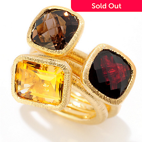 119-982 - Michelle Albala Set of Three 8.00ctw Citrine, Smoky Quartz & Garnet Stack Rings