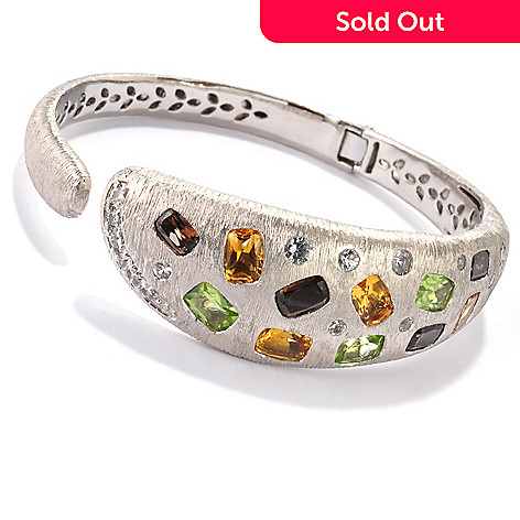119-984 - Michelle Albala 8'' Multi Gemstone Hinged Bangle Bracelet