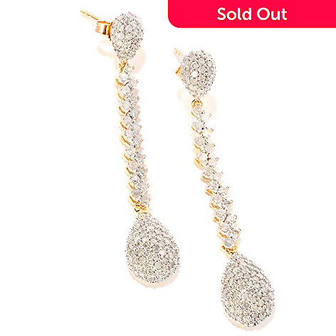 120-042 - Diamond Treasures® 14K Gold 1.75'' 2.00ctw Diamond Drop Earrings