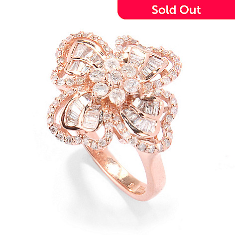 120-057 - Diamond Treasures® 14K Rose Gold 1.22ctw Round & Baguette Diamond Flower Ring
