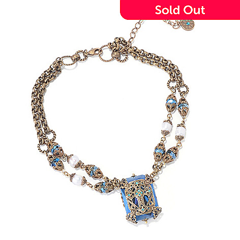 120-063 - Sweet Romance 15'' Crystal & Cultured Pearl Filigreed Cross ''Chartes'' Necklace