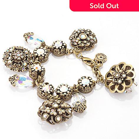 120-069 - Sweet Romance™ Gold-tone 8'' Aurora Borealis Crystal Chunky Bracelet