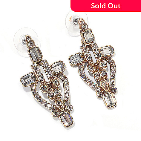 120-073 - Sweet Romance™ Gold-tone Art Deco Inspired Black Crystal Earrings