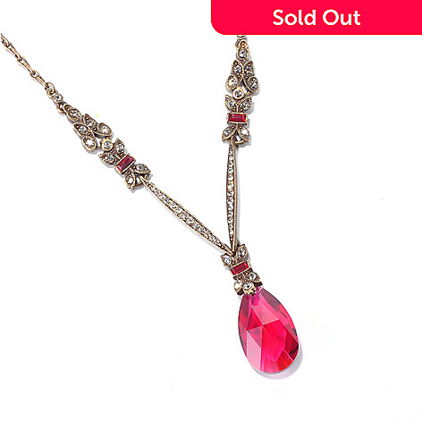 120-074 - Sweet Romance™ Gold-tone 18'' Art Deco Inspired Crystal Teardrop Lavaliere Necklace
