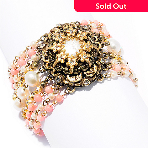 120-079 - Sweet Romance™ 7'' Gold-tone 1950s Inspired ''Forget-Me-Not'' Bracelet