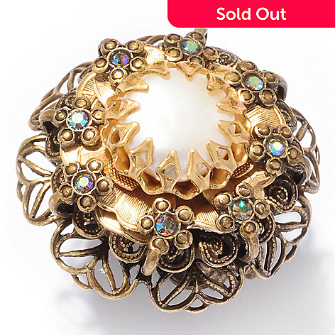 120-080 - Sweet Romance™ Gold-tone 1950s Inspired ''Forget-Me-Not'' Ring