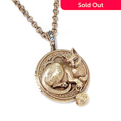 120-081 - Sweet Romance[ 32'' Sculptured Cat Locket Necklace