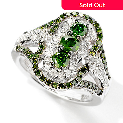 120-126 - Diamond Treasures Sterling Silver 1.24ctw Green & White Diamond Split Shank Ring