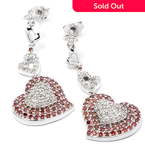 120-132 - Diamond Treasures Sterling Silver 1.00ctw Pink & White Diamond Heart Earrings