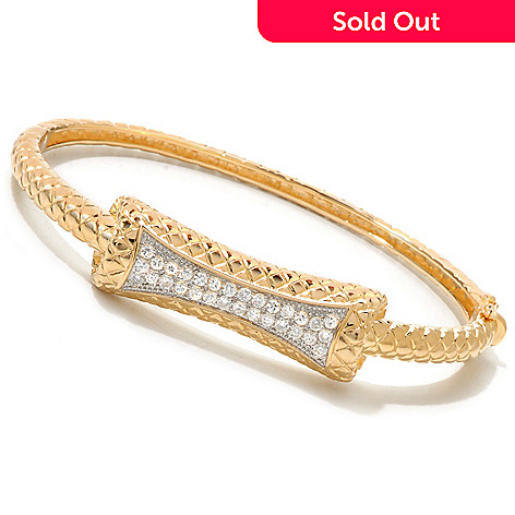 120-177 - DESORO™ Gold Embraced™ Quilted Texture Simulated Diamond Bangle Bracelet
