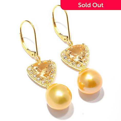 120-196 - Gold Embraced[ 10-11mm Freshwater Cultured Pearl & Gemstone Earrings
