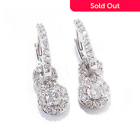 120-199 - Diamond Treasures 14K White Gold 1.00ctw Diamond Hoop Drop Earrings