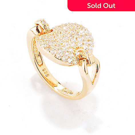 120-218 - Sonia Bitton Round Cut Pave Set Simulated Diamond Disk Link Ring