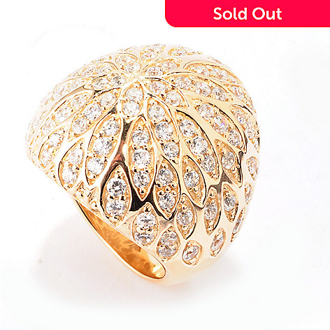 120-226 - Sonia Bitton Platinum Embraced™ 2.09 DEW Simualted Diamond Flower Dome Ring