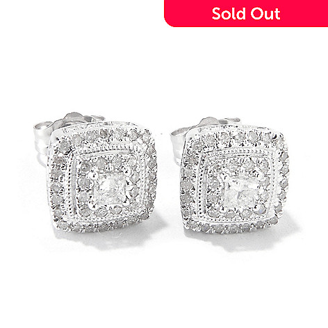120-232 - 14K White Gold 0.50ctw Diamond Square Stud Earrings