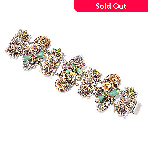 120-250 - Sweet Romance™ Two-tone 7'' Crystal Flower & Dragonfly Bracelet