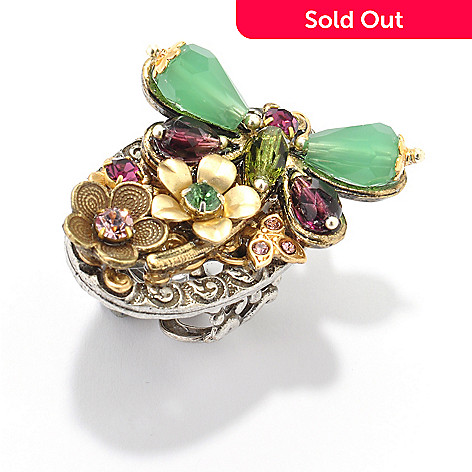 120-251 - Sweet Romance™ Two-tone Crystal Flower & Dragonfly Ring