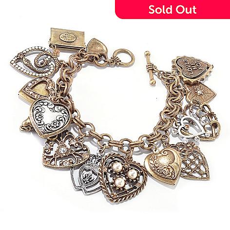 120-258 - Sweet Romance 7.5'' Crystal Love Letters Charm Bracelet
