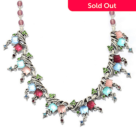 120-267 - Sweet Romance 19.75'' White Satin Luminous Glass Tulip Necklace