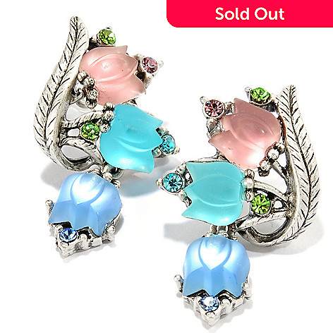 120-268 - Sweet Romance Gold-tone White Satin Luminous Glass Tulip Earrings