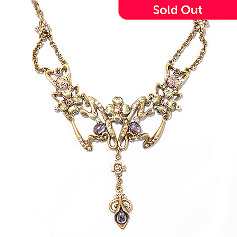 120-269 - Sweet Romance 16'' Gold-tone Art Nouveau Lilac Necklace