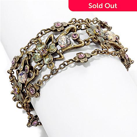 120-270 - Sweet Romance Gold-tone 7'' Art Nouveau Lilac Bracelet
