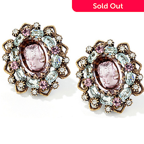 120-282 - Sweet Romance™ Gold-tone Crystal Bohemian Intaglio Earrings