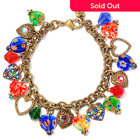 120-284 - Sweet Romance 7.5'' Multi Color Candy Glass Hearts Charm Bracelet