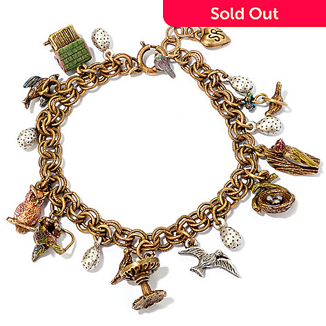 120-288 - Sweet Romance™ Gold-tone 7'' ''Little Birds'' Charm Bracelet