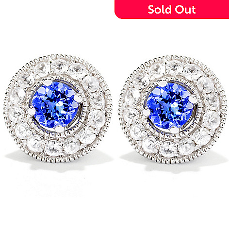 120-356 - Gem Treasures Sterling Silver Tanzanite Studs w/ White Sapphire Jackets 1.15ctw.