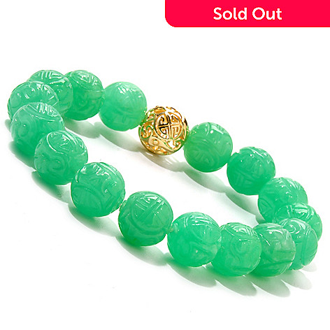 120-372 - 6.75'' Dyed Jade Carved Bead Stretch Bracelet