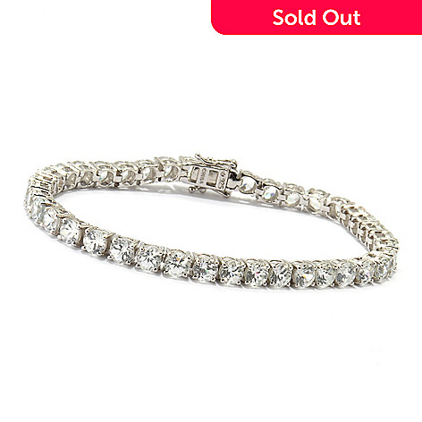 120-373 - Gem Treasures® Sterling Silver White Zircon Tennis Bracelet