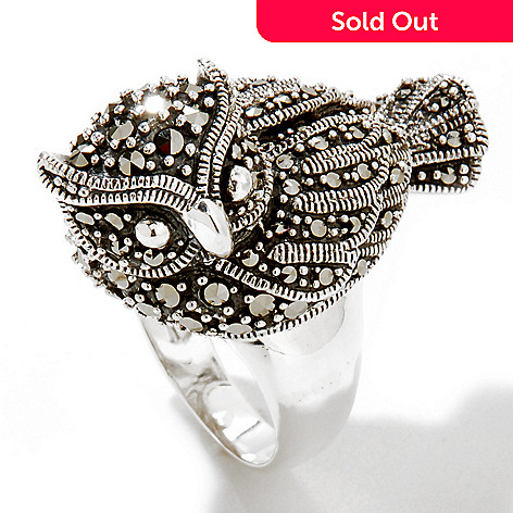 120-374 - Gem Treasures® Sterling Silver Marcasite Owl Ring