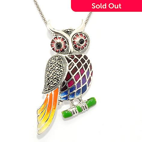 120-375 - Gem Treasures® Sterling Silver Marcasite, Onyx & Enamel Owl Pin/Pendant