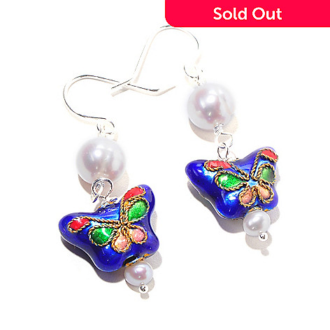 120-381 - Sterling Silver Freshwater Cultured Pearl & Butterfly Shaped Cloisonne Earrings