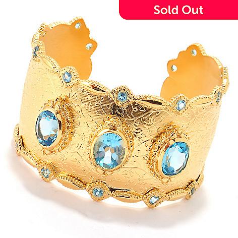 120-404 - Porsamo Bleu 20.80ctw Swiss Blue Topaz Wide Cuff Bracelet