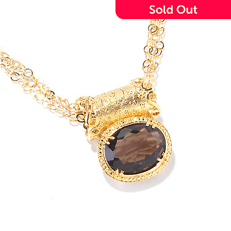 120-414 - Porsamo Bleu 14.00ctw Smoky Quartz Scroll Pendant w/ 18'' Chain