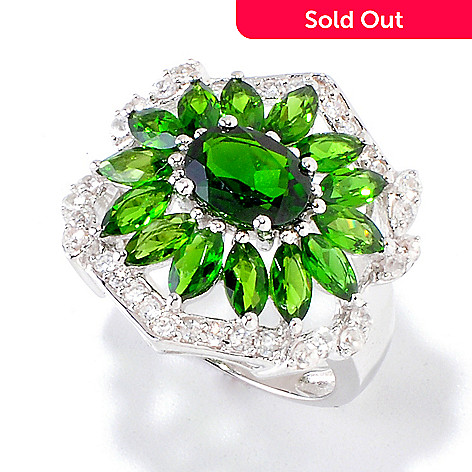 120-423 - Gem Insider™ Sterling Silver 4.68ctw Chrome Diopside & White Zircon Ring