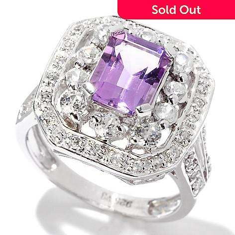 120-425 - Gem Insider™ Sterling Silver 2.36ctw Amethyst & White Zircon Octagon Ring