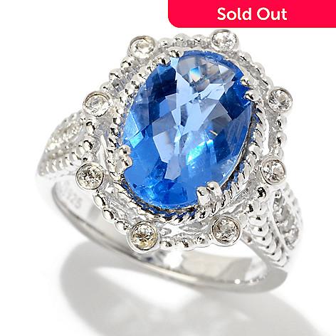 120-426 - Gem Insider Sterling Silver 3.22ctw Fluorite & White Sapphire Bead Framed Ring