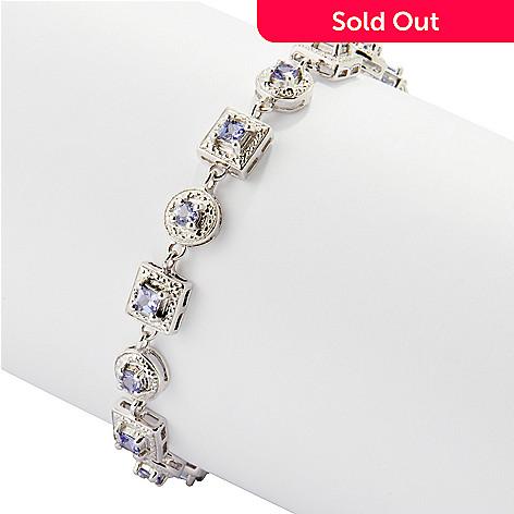 120-429 - Gem Insider™ Sterling Silver 2.00ctw Square & Round Link Tanzanite Bracelet
