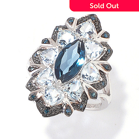 120-431 - Gem Insider™ Sterling Silver 4.12ctw London Blue Topaz & Multi Gem Ring