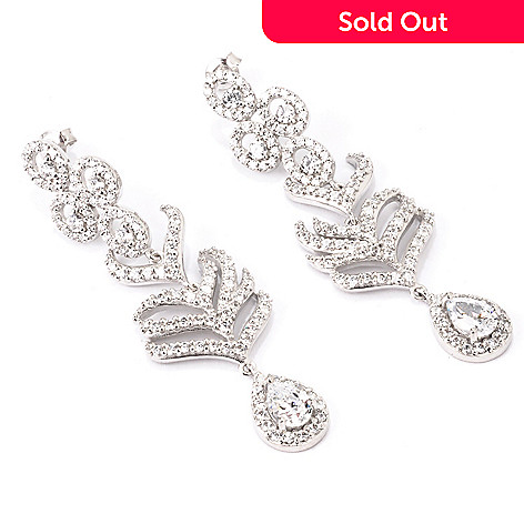 120-503 - Charlie Lapson Platinum Embraced™ 3.08 DEW Simulated Diamond Feather Drop Earrings