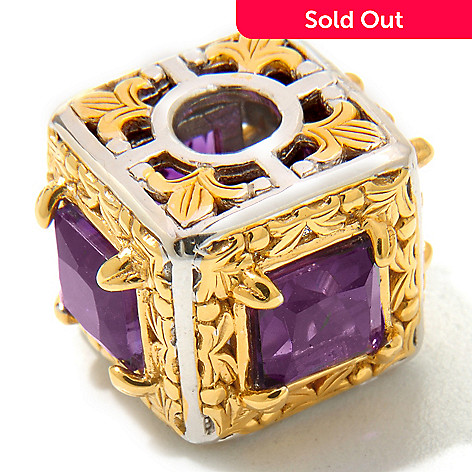 120-535 - Gems en Vogue 2.44ctw Princess Cut Amethyst Gift Box Cube Charm
